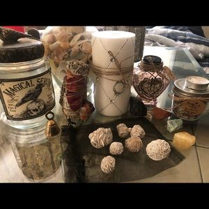 Desert rose selenite & other items shown
